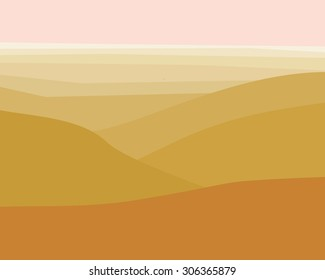Desert Sunrise looking down from atop mountains illustration