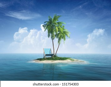 Desert tropical island with palm tree, chaise lounge. Concept for rest, holidays, resort, travel.