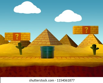 Desert Video game background - 3D Illustration