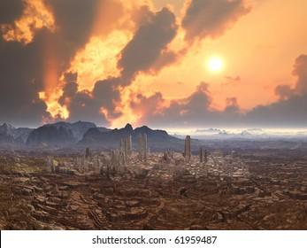 Deserted City on Alien Planet