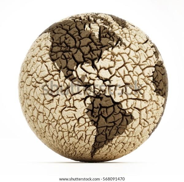 Deserted earth with cracked soil. 3D illustration.