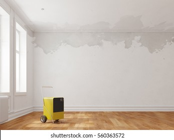 Desiccator in empty room with water damage on walls (3D Rendering)
