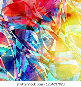 Design abstract brightly multicolored watercolor wavy elements.