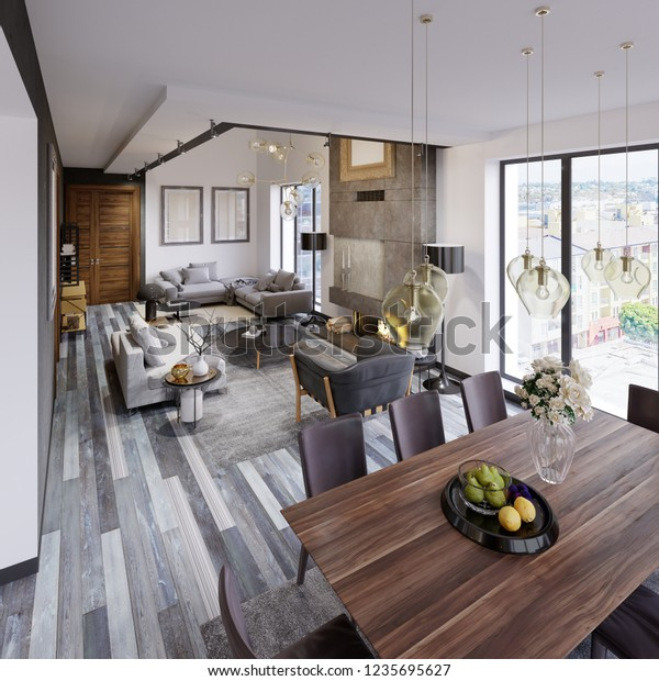 Design Apartment Dining Table Large Loftstyle Stock Illustration 1235695627