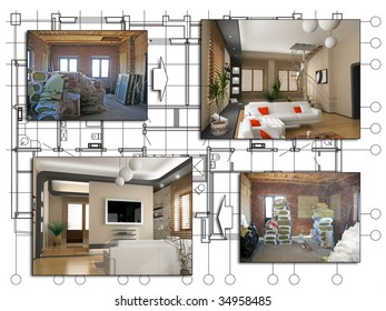 the design of apartment project (before and after)