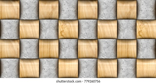 Design basketry 3d wall tiles . Material wood oak and concrete. High quality seamless realistic texture.
