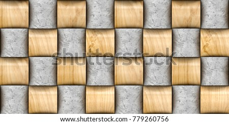 Design Basketry 3d Wall Tiles Material Wood Oak And Concrete High Quality Seamless Realistic
