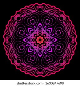 Design With Beautiful Floral Mandala Ornament.  Illustration. For Coloring Book, Tattoo. Anti-Stress Therapy Pattern. Indian, Moroccan, Mystic, Ottoman Motifs. Black, purple color.