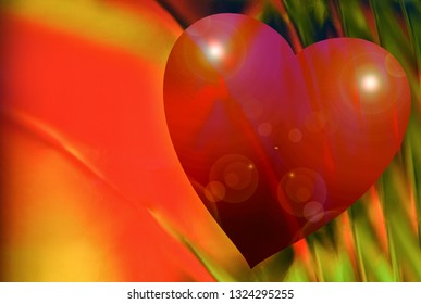 Design of a big red heart on a colourful abstract background