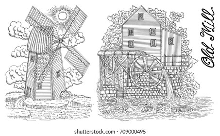 Design black and white set with old mills and lettering. Black vintage engraving, hand drawn design illustrations for label, poster. Rural farm concept