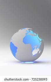 Design of a blue earth globe, transparent continent effect, vertical view. 3d illustration