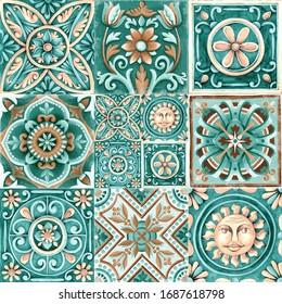 Design for ceramic tiles, majolica, ornament