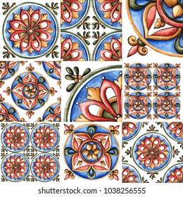 Design for ceramic tiles, majolica, watercolor ornament