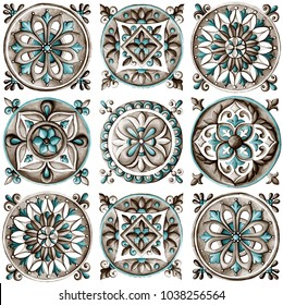 Design for ceramic tiles, majolica, watercolor ornament