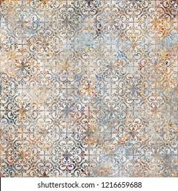 Design for ceramic tiles,  majolica, watercolor ornament_