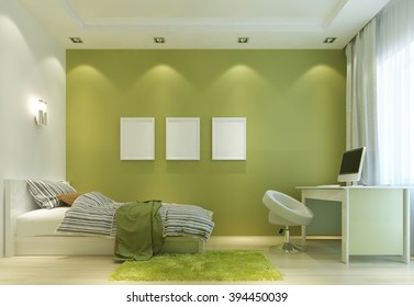 Design a child's room in a Contemporary style, with a bed and a desk. The walls in light green color, and all the furniture is white. On the wall poster mockup. 3D render.