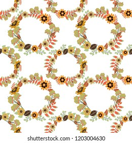 Design for cloth, wallpaper, gift wrapping. Seamless background with cute simple flowers in yellow, white and green colors. Vintage natural pattern. Print for silk, calico and home textiles.