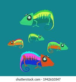 Design colored  chameleon. Hand drawn.