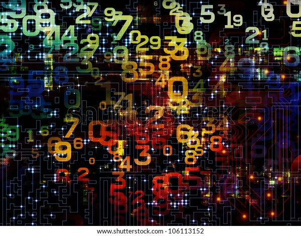 Design composed of numbers as a metaphor on the subject of modern computing, digital worlds and information processing