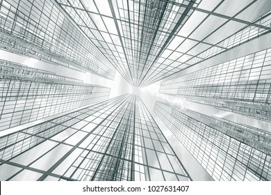 design element. 3d illustration. rendering. glass and metal modern business buildings of a city skyscrapers in a business district. looking up. bottom view