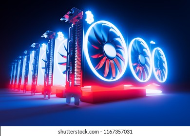 design element. 3D illustration. rendering. cryptocurrency mining farm. bitcoin and altcoins mining. graphic cards rig for cryptocurrency mining. big data processing