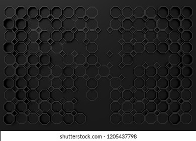 design element. 3D illustration. rendering. abstract octagons dark 3d background