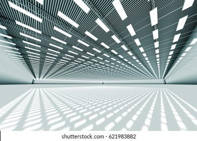 design element. 3D illustration. rendering. empty big warehouse black and white