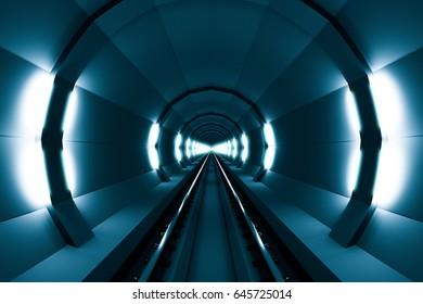 design element. 3D illustration. rendering.  transportation.  railroad.  lighted tunnel blue  image