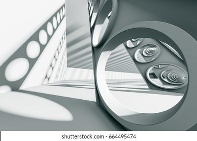 design element. 3D illustration. rendering. empty  hall construction. empty black and white scene