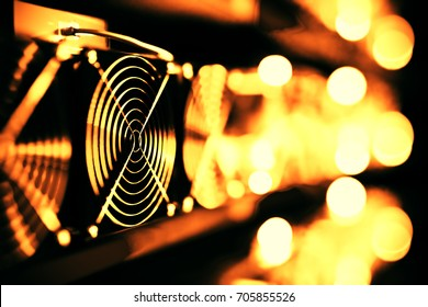 design element. 3D illustration. rendering. dark bitcoin cryptocurrency mining farm 3d background colored  image