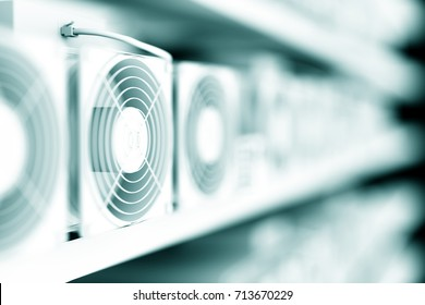 design element. 3D illustration. rendering. cryptocurrency mining farm. bitcoin and altcoins mining. asic miner rig for cryptocurrency mining