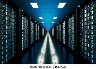 design element. 3D illustration. rendering. server room in data center full of telecommunication equipment.  internet. big data storage. cloud computing technology