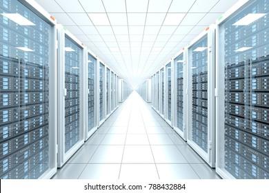design element. 3D illustration. rendering. server room in data center full of telecommunication equipment. internet. big data storage. cloud computing technology