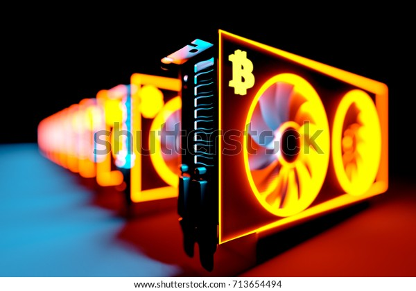 design element. 3D illustration. rendering. cryptocurrency mining farm. bitcoin, litecoin,ethereum and altcoins mining. asic miner rig for cryptocurrency mining