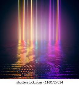 design element. 3d rendering. abstract  background. laser beams, neon glowing lines rainbow colored, dark scene