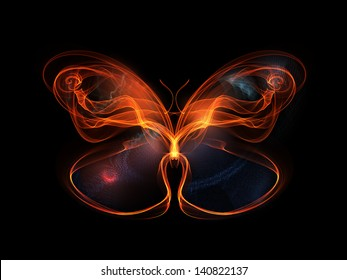 Design element made of fractal butterfly shapes and lights to complement projects related to design, imagination and creativity