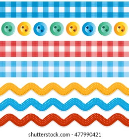 Design elements - seamless (repeatable) borders - red and blue gingham ribbons, ric rac tapes, and sewing buttons
