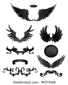 Design elements with wings, bitmap copy