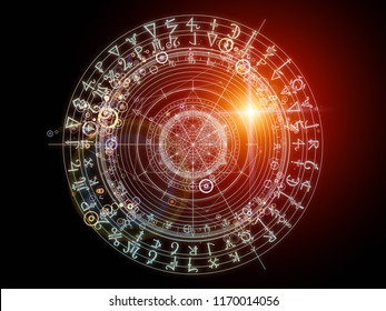 Design of fractal elements, sacred symbols and circles on the subject of mysticism, occult, astrology and spirituality. Sacred circles series.