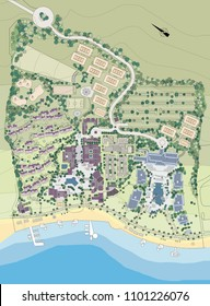 Design of a holiday village, real estate investment in a new apartment building area at the sea
