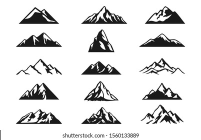 Design a illustrator vector of Mountain Hill Silhouette Collections set isolated on white background.