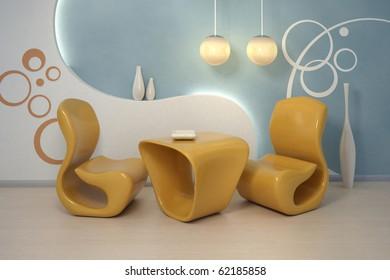 Design interior. Modern orange armchairs