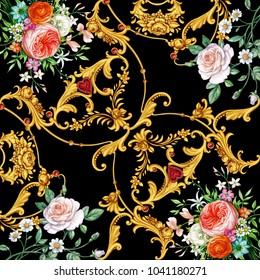 Design of kerchief with flowers ans golden scrolls