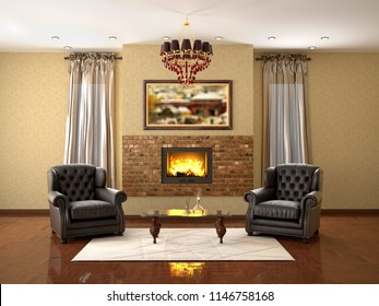 design of living room with fireplace and two armchairs. 3d illustration