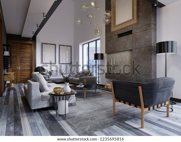 Design Living Room Very Spacious Large Stock Illustration 1235695816