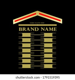 Design logo describes a modern logo concept for business branding in real estate. The logo of your business activity is presented through strong colors, red and gold, which radiate energy and luxury.