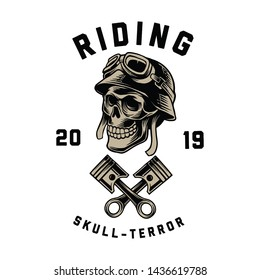 design logo illustration double piston and skull terror