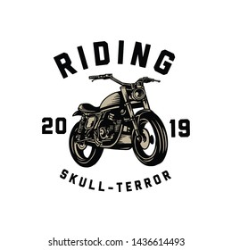 design logo illustration motorcycle riding skull terror