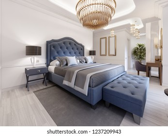 The design of a luxurious bedroom in a contemporary style with a blue bed and white walls. Armchair with footrest and dressing table with mirror. 3d rendering.