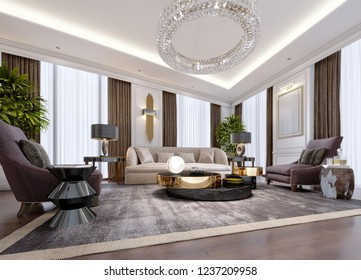 Design of luxury apartments in modern style with designer furniture and large curtains. 3d rendering.
